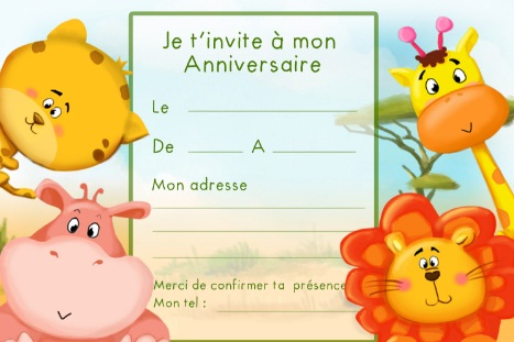 carte invitation anniversaire jungle