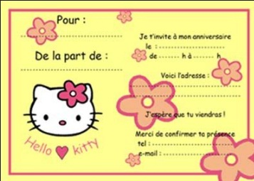 carte d'invitation anniversaire hello kitty