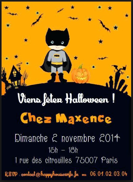 texte carte d'invitation anniversaire Halloween